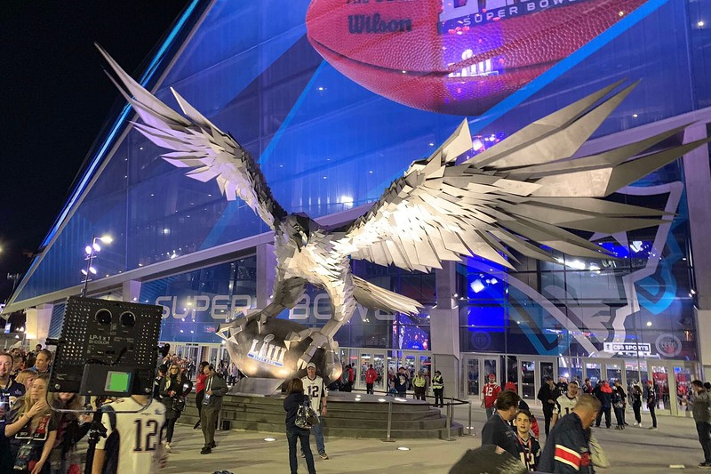 A falcon statue outside Mercedes-Benz Stadium in Atlanta, Georgia, where Super Bowl LIII was hosted on Feb. 2. Junior Alyssa Dennis attended the game with her sister Olivia.