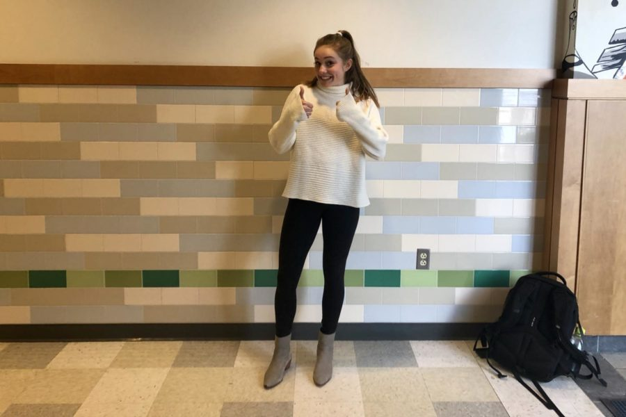 "Sophomore Jules Apse dresses in Nordstrom and Lululemon with Frye boots. ""My favorite season is winter because you can wear hoodies,"" Apse said."