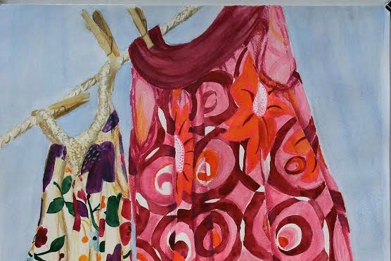 """Senior Anika Reichelt received a special award from the Massachusetts Art Education Association titled the Hat Sister Award for her piece titled Summer Dresses. """"[Art is] a way to express yourself, outside of words, which is tricky for a lot of people,"""" Reichelt said."""