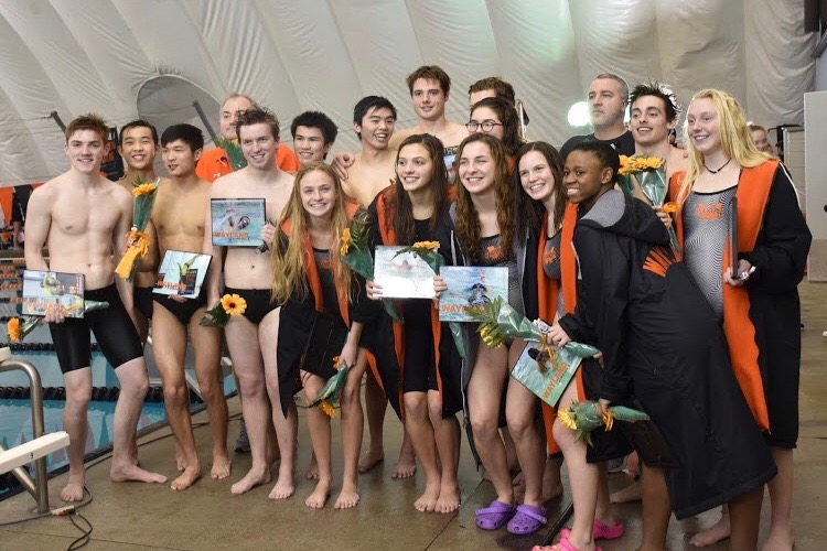 Seniors+on+the+swim+and+dive+team+pose+for+one+last+photo+as+a+group.+The+boys+team+won+their+third+consecutive+championship+while+the+girls+won+their+first+since+2014.+%22We+had+a+lot+of+confidence+going+into+this+%5Bseason%5D%2C%22+boys+senior+captain+Edmond+Giang+said.+