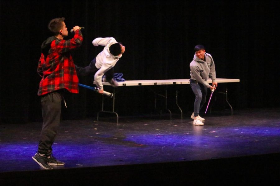 Seniors+Jake+Horowitz%2C+Alex+Kwan+and+Timmy+Kwan+perform+a+Star+Wars+act+during+the+%22Wayland%27s+Got+Talent%22+skit+during+the+2019+Senior+Show.+