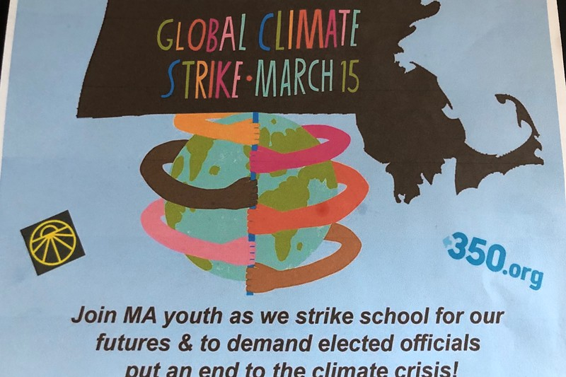 A flyer asking students to unite against climate change by protesting on March 15. At WHS, 18.8 percent of the 135 students surveyed planned to participate in this protest.