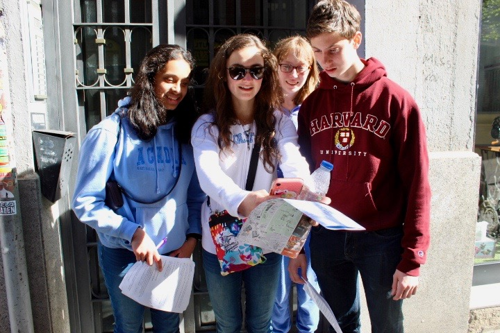 On+the+first+day%2C+Spanish+teacher+Nicole+Hagdoust+challenged+students+to+a+scavenger+hunt+on+the+first+day.+Starting+at+Plaza+Mayor%2C+students+strolled+around+Madrid%2C+searching+for+famous+sights.+%22We+saw+a+lot+of+new+sights+%5Bon+the+scavenger+hunt%5D%2C+but+my+favorite+had+to+be+El+Mercado+San+Miguel+because+of+all+of+the+culture+that+you+could+see+in+there%2C%22+junior+McKenna+Kelemanik+said.+From+left+to+right%3A+senior+Uma+Paithankar%2C+juniors+Kelemanik%2C+Maggie+Britton+and+senior+Matthew+Karle.