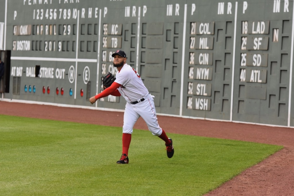 Red+Sox+starting+pitcher+Eduardo+Rodriguez+throws+a+ball+across+the+field+during+warm+ups.