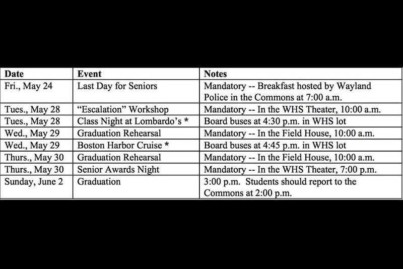 A schedule of the senior events from May 24 to June 2.