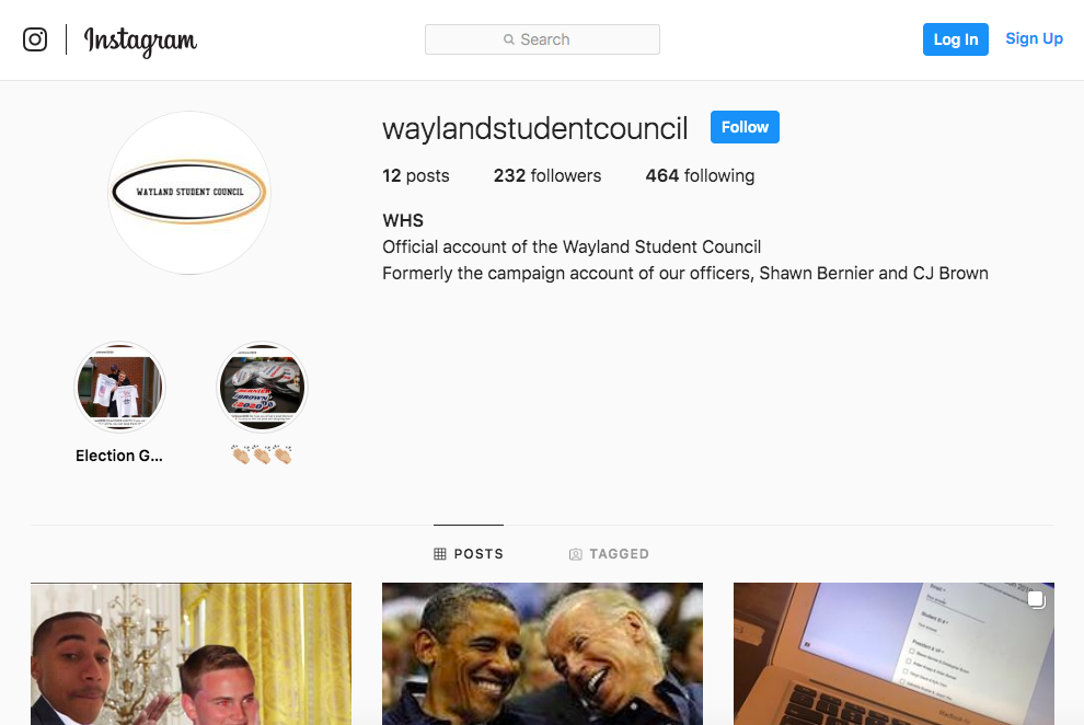 Pictured above is the Instagram account for the 2019-2020 Student Council. The account was formerly the campaign Instagram for senior President-elect Shawn Bernier and senior Vice President-elect CJ Brown.