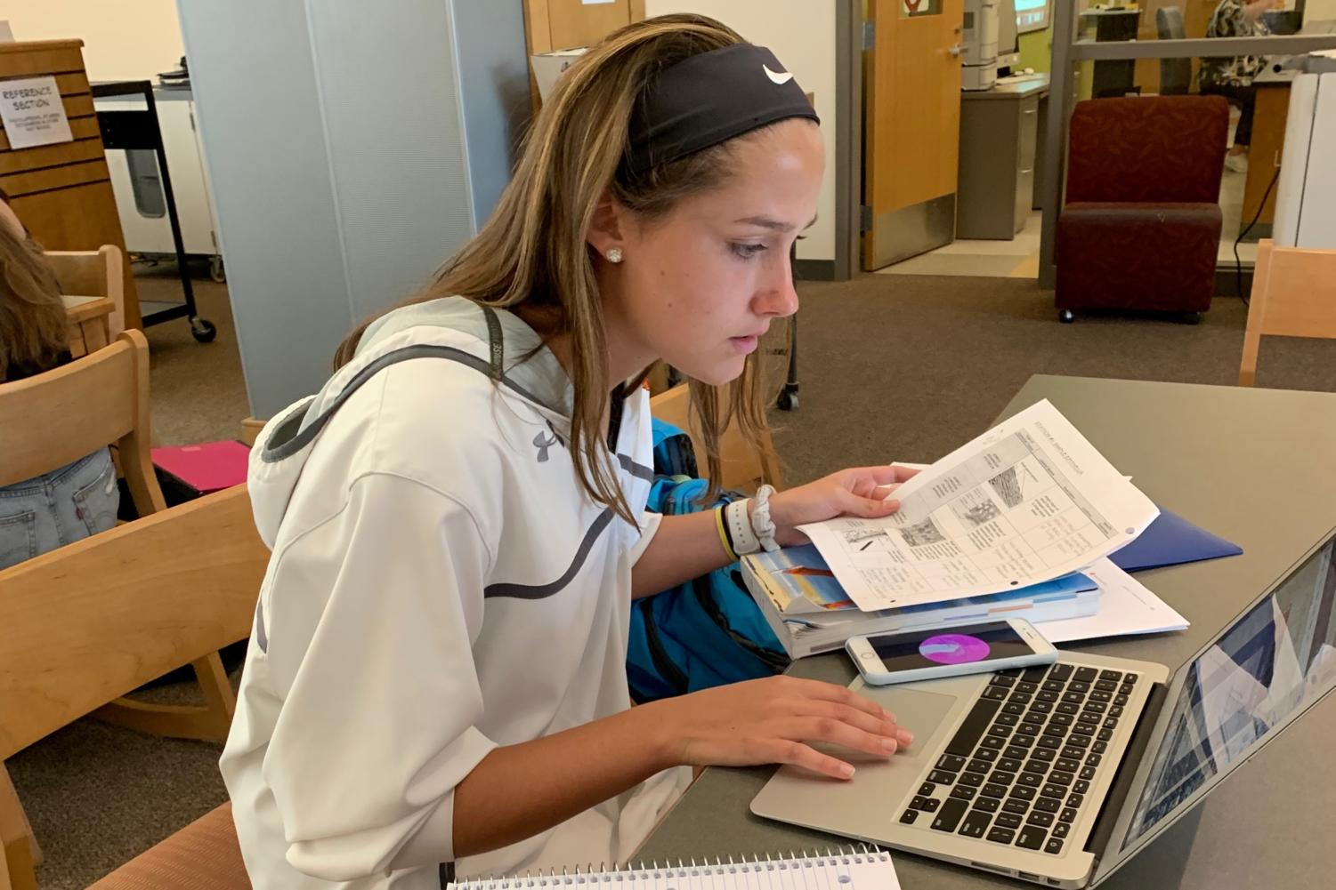 Senior Arden Knapp pores over her notes and studies. Stress and anxiety are issues that many WHS students have come across. Guest writer Ryan Urato and Editor-in-Chief Kevin Wang give their takes on stress culture.