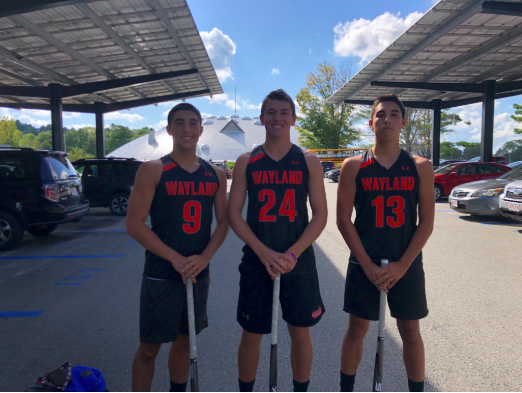 Seniors Ethan Betancourt, Aiden Chitkara and Zeke Betancourt sport their field hockey uniforms. The boys are on the WHS varsity field hockey team, which is historically female-dominated.