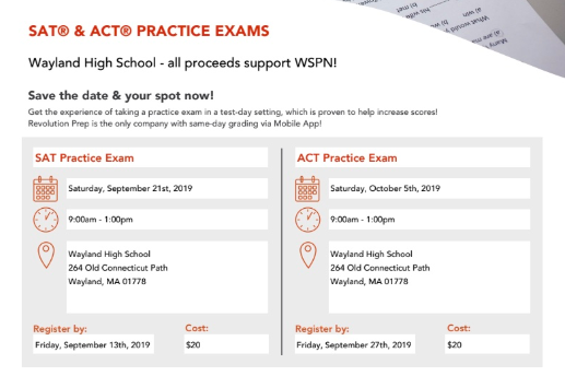 WSPN will hold practice SAT and ACT tests on Sept. 21 and Oct. 5, respectively.