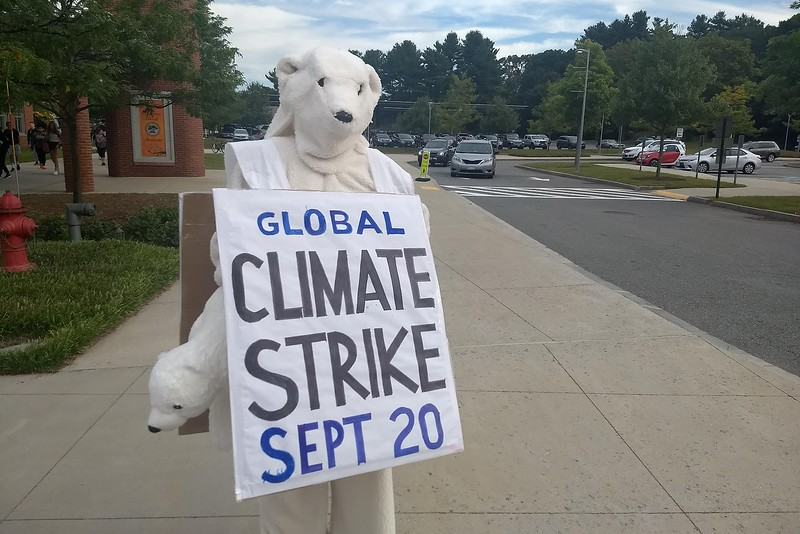 Wayland resident Sabine von Mering plans to dress as a polar bear and traipse across high school grounds early Friday morning. Von Mering aims to raise awareness for the Boston climate strike, which will take place on Sept. 20.