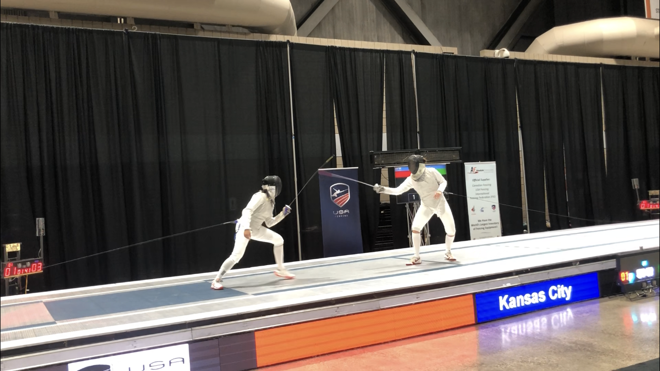 Shang competes in a foil bout at the 2018 North American Cup. The competition was held in Nov. 2018.
