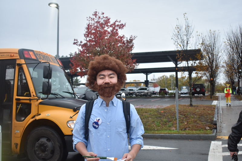 Senior Kevin Wang poses as Bob Ross, a famous painter, for his 2019 Halloween costume.