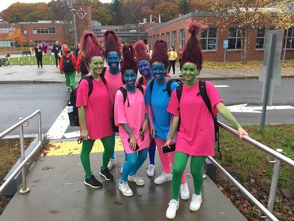 Seniors Hailey Robinson, Isabel Mishara, Lily Jenzeh, Emma Levy, Fatma Sayeh, and Christina Taxiarchis pose as Trolls from the movie,