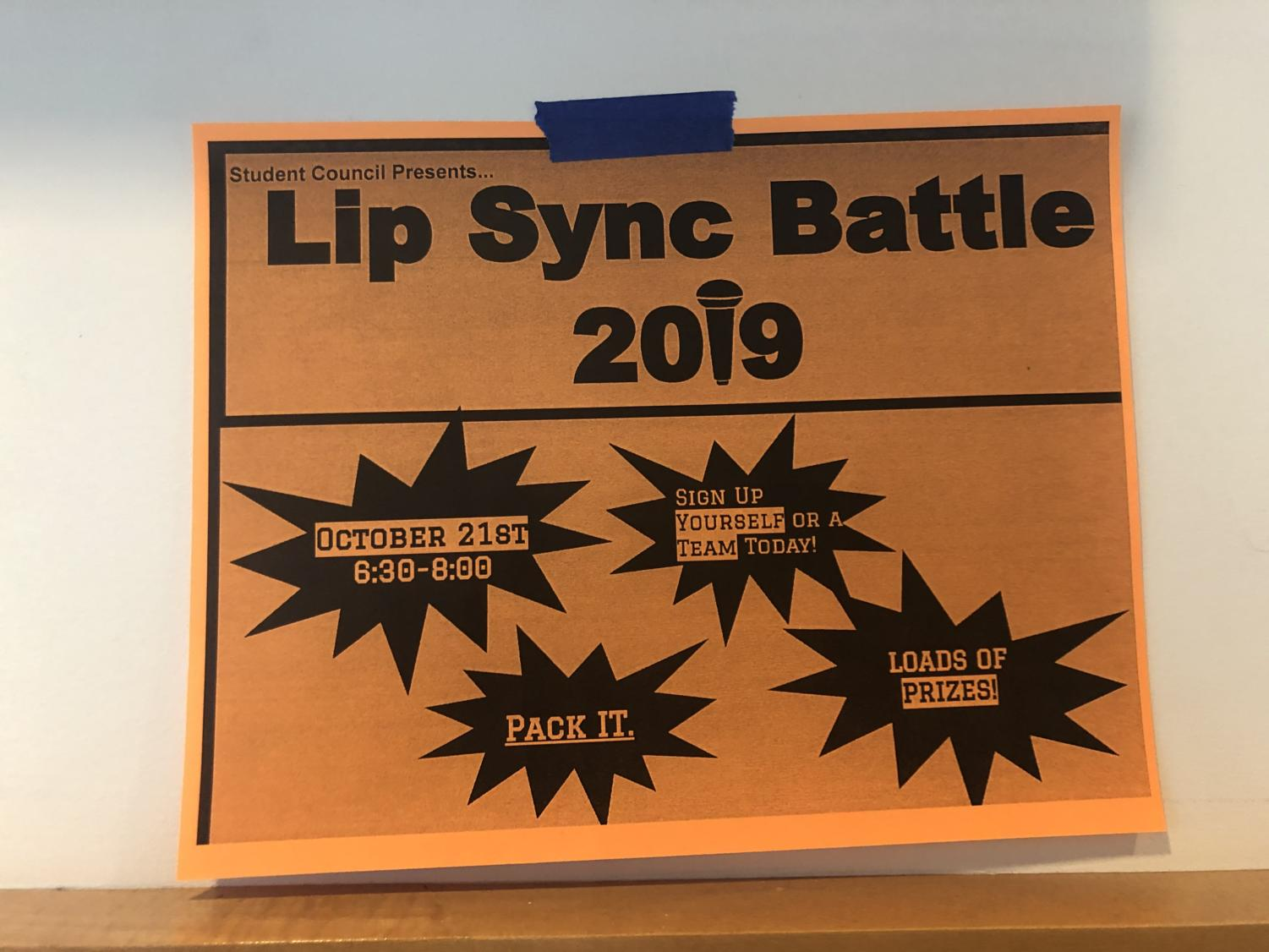 Posters advertising the Lip Sync Battle are posted throughout the school for students who are interested.