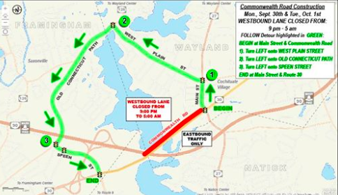 Construction on Route 27 has drawn mixed reactions from Wayland students and residents alike. The image above displays in red the area that is under construction, and in green the detour for the route.
