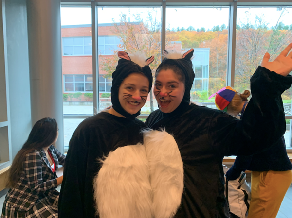 Seniors Mallory Leonard and Sam Baron dressed as skunks for Halloween.
