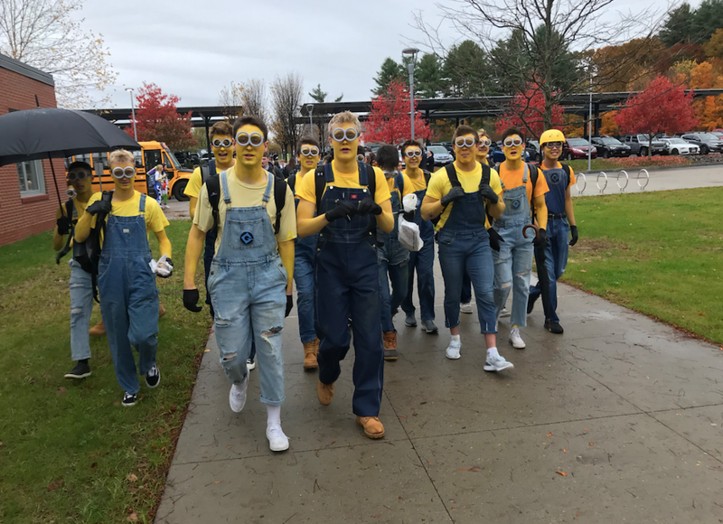 Seniors go bananas at WHS as they dress up as minions from Despicable Me. The boys walked around the high school all day impersonating minions