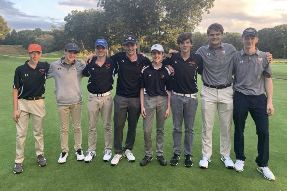 "The Wayland golf team's starters smile for a post-game picture. Wayland defeated Waltham after scoring a season high 113 points. ""I feel like, in each match, we've stepped it up in some manner,"" junior captain Liam Gill said. ""Not necessarily in golf, but each of us contributing just to be a better teammate to one another - even the guys who don't start every match. We just try to bring the spirit up, because, in practice, they always have the opportunity to play. I feel like we've really improved over the last couple of weeks."""