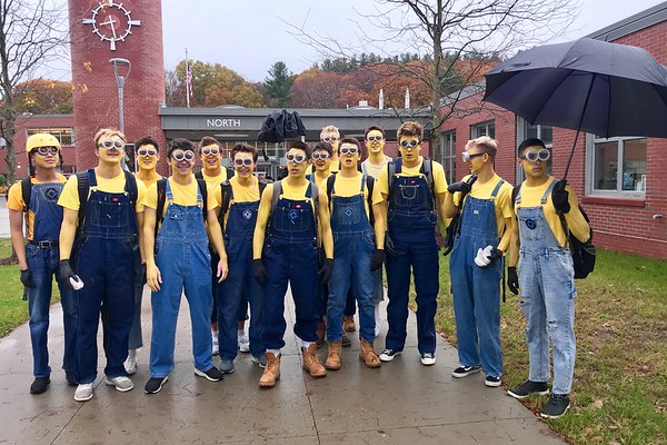 Senior boys pose as a group of minions outside of the North Building. The group sang the banana song in harmony as they waddled through the commons before school.