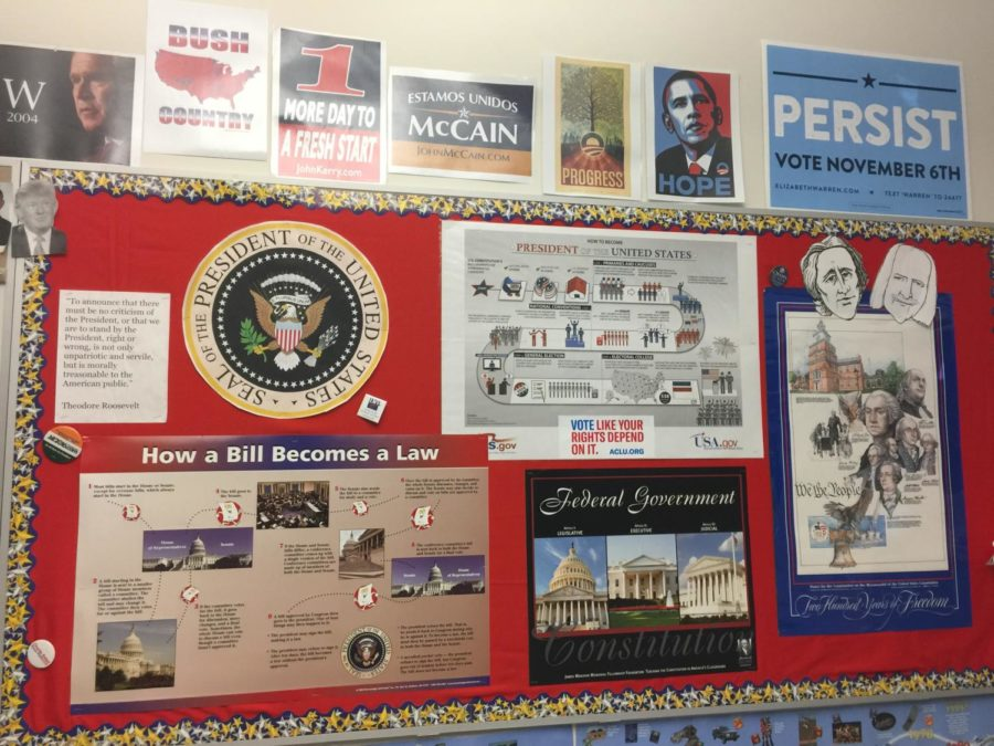The political mural in room B242. WSPN's Atharva Weling explores the rationale of politically apathetic students and the necessity of political engagement.