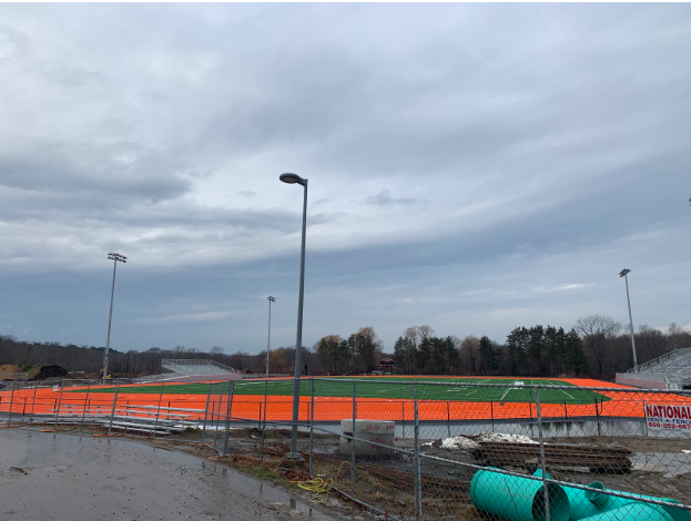 Through the summer months and into the fall and winter of 2019, construction on the turf field, track, and tennis courts continued. Barring minor setbacks at the outset of cold weather in the start of the winter, the project has progressed according to plan.