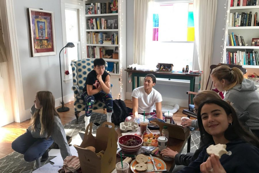 "The core members gather at junior Aydan McGah's house to discuss their plans for this years show while eating bagels. ""This is a great place to share their ideas and to really get their voice out there. It's unlike an opportunity given to most students our age,"" junior Emmie O'Shaughnessy said."