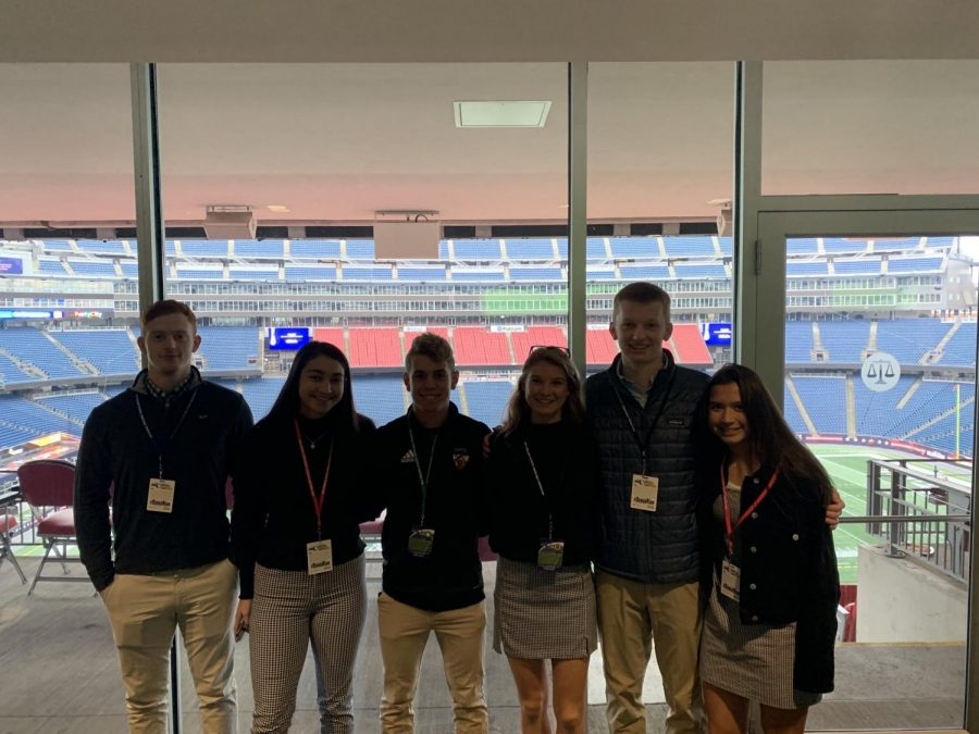 WHS students attend MIAA's annual sportsmanship summit at Gillette Stadium. From left to right, senior Paul Curtin, juniors Mira Ireland and Zach Campana, senior Molly O'Driscoll, juniors Jimmy Paugh and Ellie Tyska. WSPN's Paugh and Tyska offer an opinion about the lessons of sportsmanship and leadership learned from the summit.