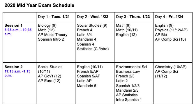 News Brief: Midyear exam schedule released