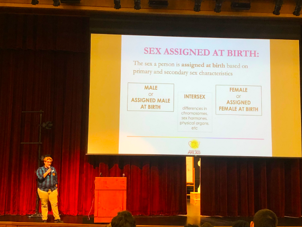 "Speaker Ryley Coplans presents to WHS about the meaning of one's ""sex assigned at birth"". ""It is important [to be in PFLAG] because you can't make assumptions about people and you never know who you are going to encounter, so you need to make an inclusive and representing space,"" Copans said."