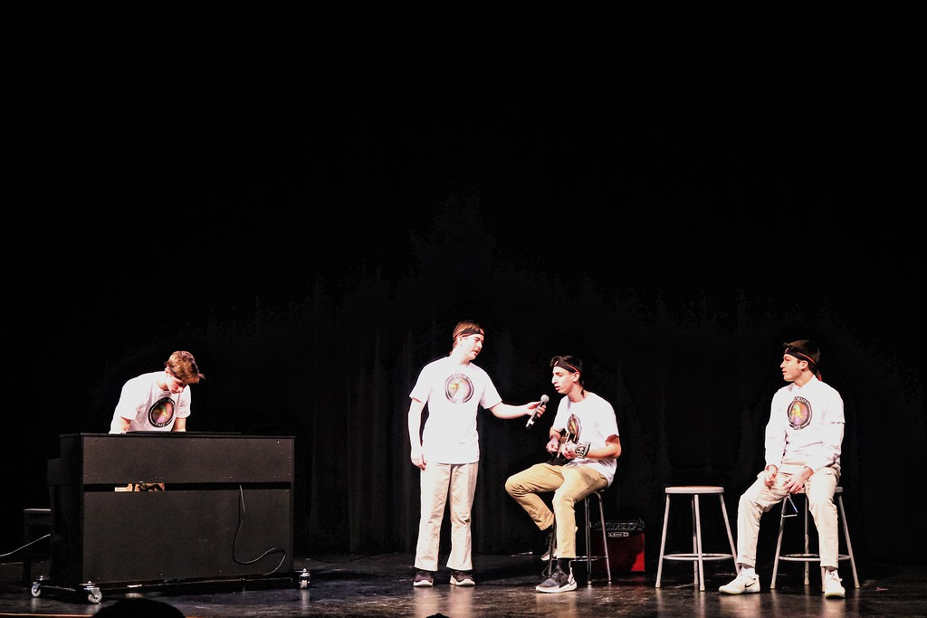 Seniors Josh Snyder, Harrison Veal, Rob Glazer and Michael Wegerbauer wrap up the talent show in their performance of