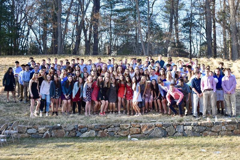 The+class+of+2019+gathers+to+take+a+class+picture+at+the+progressive+dinner.+The+progressive+dinner+is+one+of+the+many+events+the+seniors+get+to+partake+in+during+their+last+year+at+Wayland.+History+teacher+Mr.+Gavron+believes+that+there+is+a+sudden+drop+in+effort+among+the+senior+class.+%E2%80%9CThere+are+some+students+who+cut+back+on+doing+homework+%5Baltogether%5D+or+doing+homework+in+a+timely+manner.+They+will+%5Beither%5D+pass+it+in+late%2C+or+not+do+it+at+all%2C%E2%80%9D+Gavron+said.+