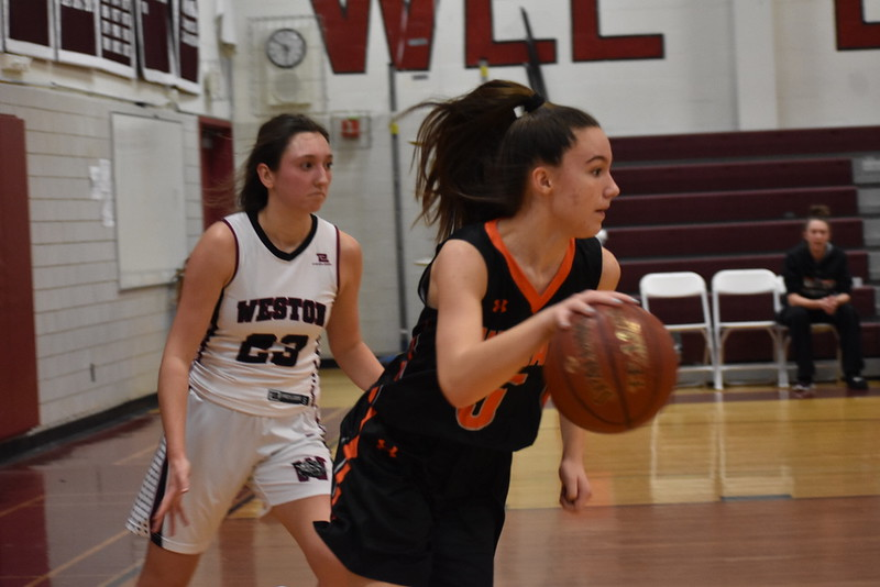 Sophomore Haley Melvin dribbles down the court, making her way closer to the basket.