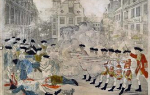 This engraving by Paul Revere depicts British soldiers firing into a crowd of Bostonians upon command from their officer and is widely known as the image that represents the Boston Massacre.