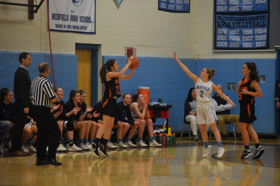 Wayland moves the ball quickly and finds senior Isabella Arenas open for a three-point shot.