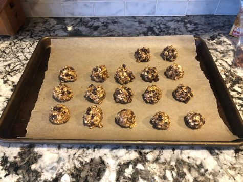 Step three: Put them onto a baking sheet and freeze for an hour until set.