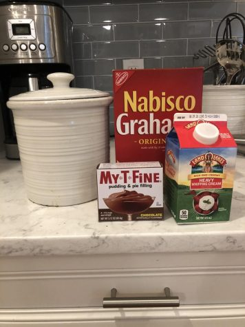 Ingredients: Half a package of graham crackers (7.2 oz), two packages of chocolate pudding mix (3.4 oz). Whipped Cream: two tsp. of sugar, one cup of heavy whipping cream