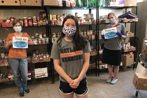 "Wayland high school freshman Maya Lee after delivering food to Parmenter in Wayland. Lee delivers food and meals to food pantries, hospitals, and homeless shelters as part of her foundation, Team UKAPS. ""My foundation shows that kids can help out during times of struggle,"" Lee said."