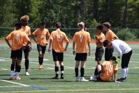 The Wayland boys soccer team talks during a preseason game up in Maine. This year's Maine tournament has been cancelled.