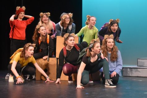 """Wayland High School Theater Ensemble performs last springs play, Squirrel Girl Goes to College. WHSTE has had to adapt to the new challenges posed by the pandemic. """"WHSTEs season wont be the same this year, but thats okay,"""" senior Madeline Maurer said. """"Theater without hiccups, without experimentation, without roadblocks, isnt theater. Good theater welcomes weirdness and allows for non-traditional methods of storytelling."""""""