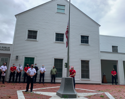 The flag was lowered in honor of the lives lost during the 9/11 attacks. They rang the bell after a moment of silence in remembrance as well.