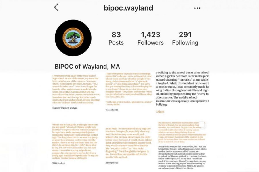 An+administrative+team+comprised+of+people+of+color+who+either+attends+or+have+attended+WHS+has+recently+made+an+Instagram+account+for+people+of+color+from+Wayland+to+share+their+stories+of+racism+and+to+be+heard.+%E2%80%9CIt%E2%80%99s+important+to+recognize+that+%5Bracism%5D+is+happening+even+if+it%E2%80%99s+not+happening+to+you%2C%E2%80%9D+Administrator+B+said.