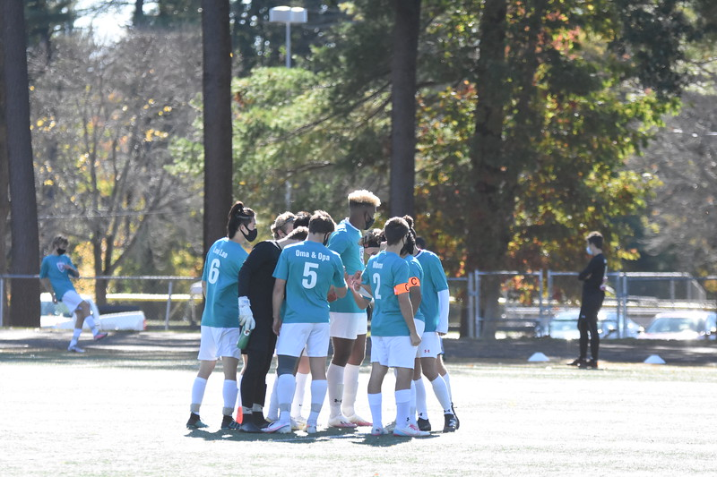 Adrenaline and high hopes come into this special game. The starting line up for the Wayland boys team huddles before kick-off to make sure the intensity and excitement levels were high.