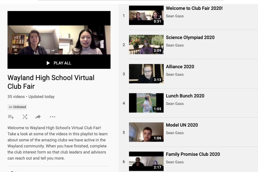 Pictured above is the WHS virtual club fair. The virtual club fair consists of a collection of videos made by club leaders and advisors introducing each club at WHS.