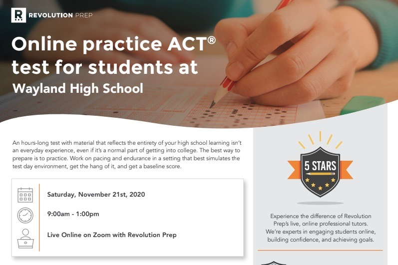 WSPN has partnered up with Revolution Prep to run a practice ACT exam on Saturday, Nov. 21. The cost for the exam is $20, and registration is open now.