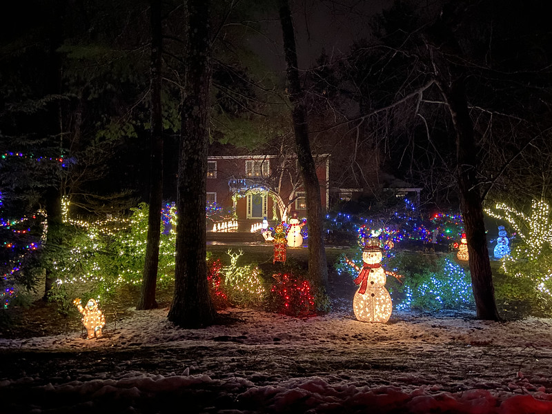 With variations of colors, snowmen, reindeers and trees, this Sudbury yard screams holiday spirit. With lights covering most of the house this yard lights up the neighborhood.