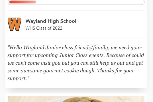 "Due to COVID-19 cancelling many fundraisers in the final months of the 2019-2020 school year, the WHS class of 2022 lost significant funding for their prom. In order to make up for this loss, the junior class will be selling pre-portioned cookie dough for $20.  ""This fundraiser and any that we carry out this year is to make up for those lost opportunities,"" Zhao said."