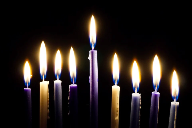 As the eight days of Hanukkah go by, people add a new candle each night from right to left.