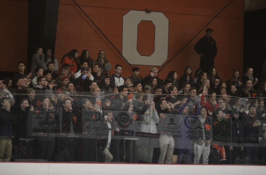 Students chant loudly during a boys varsity hockey game two years ago. This year, hockey rinks will be much quieter.