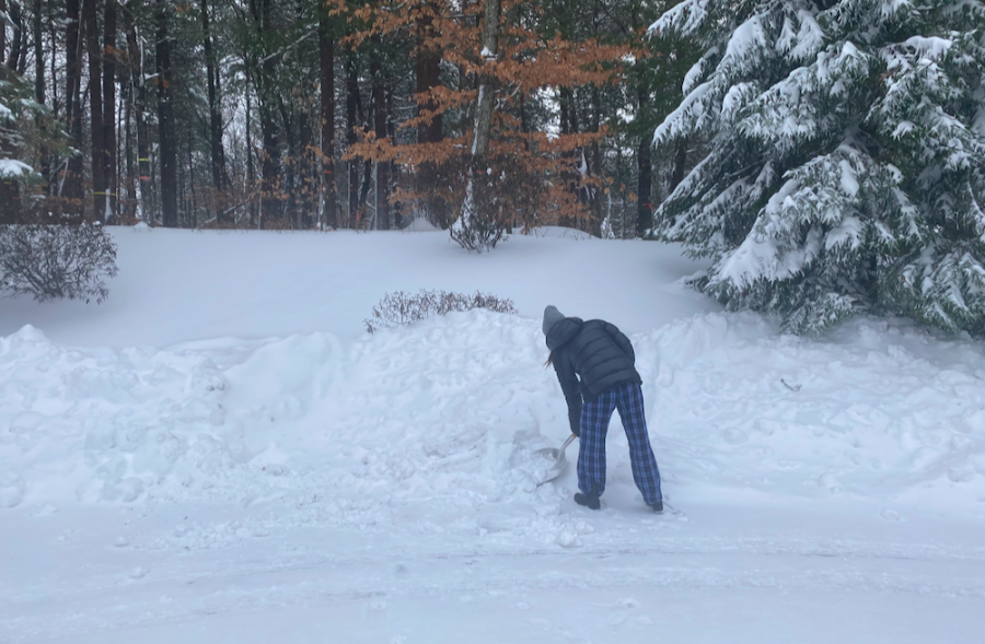 After yesterday's heavy snowfall, Hannah Roberge works hard to shovel snow out of her driveway. Despite the cold temperatures she stays outside to clear a path.