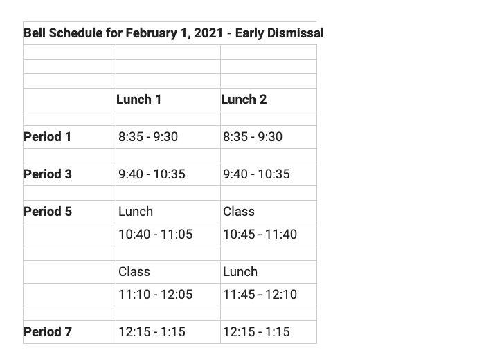 Monday, Feb. 1 will have a special bell schedule with an early release at 1:15 p.m. This decision was made due to an upcoming snowstorm.